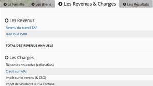Capture d'écran de l'onglet consacré aux revenus et charges