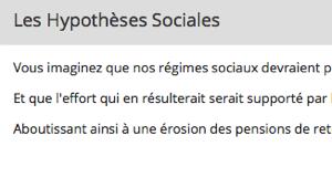 Capture d'écran du formulaire lié aux hypothèses sociales