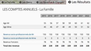 Capture d'écran de l'onglet consacré aux comptes annuels