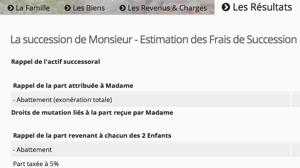 Capture d'écran du tableau présentant les frais de succession